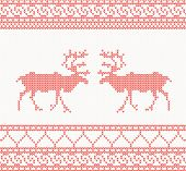 Red knitted pattern with deer seamless vector illustration