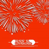 Arabic Islamic calligraphy of text Eid Mubarak on fire crackers explosion red  background for celebration of Muslim community festival.