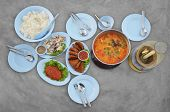 Set Of Many Plates With Asian Food