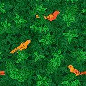 Foliate pattern with birds.