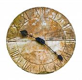 Stone Clock On A Wall Against  White Background