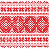 Seamless Ukrainian folk red embroidery pattern