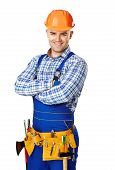 foto of locksmith  - Portrait of happy young male construction worker with tool belt isolated on white background - JPG
