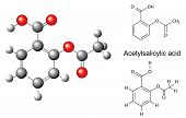 Structural Chemical Formulas And Model Of Acetylsalicylic Acid