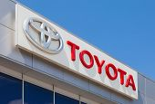 Samara, Russia - May 24, 2014: The Emblem Toyota On The Office Of Official Dealer. Toyota Motor Corp