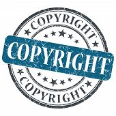 Copyright Blue Round Grungy Stamp Isolated On White Background