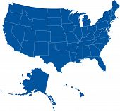 picture of the united states america  - Vector map of United States broken down by states - JPG