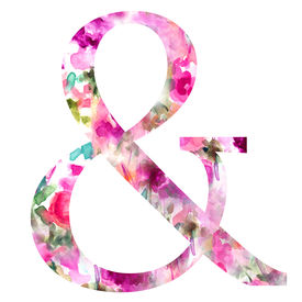 stock photo of ampersand  - Ampersand With Floral Patterned Background - JPG