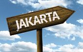 Jakarta wooden sign on a beautiful day