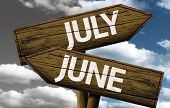 Time concept on wooden sign, July x June