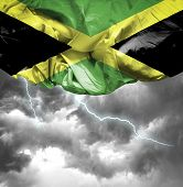 Jamaica waving flag on a bad day