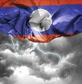 Laos waving flag on a bad day