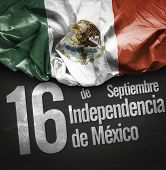 September, 16 Independence of Mexico - 16 de Septiembre, Independencia do Mexico on blackboard background