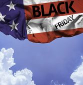 USA Black Friday waving flag on a beautiful day