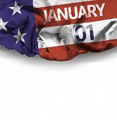 USA January, 01 comemorative flag on white background