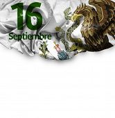 September, 16 Independence of Mexico - 16 de Septiembre, Independencia de Mexico on white background