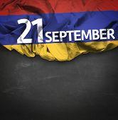 21 September Independence of Armenia waving flag on blackboard