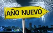 New Year (Spanish: Ano Nuevo) creative sign on a fireworks scene