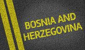 Bosnia and Herzegovina written on the road