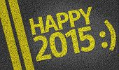 Happy 2015 written on the road