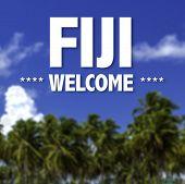 Fiji, Welcome written on a beautiful beach background
