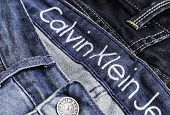 SAO PAULO, BRAZIL - CIRCA JULY: Close up of the Calvin Klein Jeans. Calvin Klein Inc. is an American fashion house founded in 1968 by the fashion designer Calvin Klein.