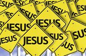 Jesus written on multiple road sign