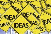 Ideas written on multiple road sign