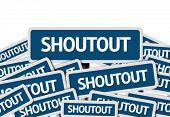 Shoutout written on multiple blue road sign