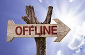 Offline wooden sign on a beautiful day
