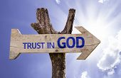 pic of trust  - Trust in God wooden sign on a beautiful day - JPG