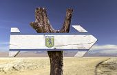 Jerusalem wooden sign isolated on desert background
