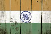 India flag on wooden background