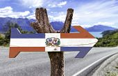 Dominican Republic wooden sign with a island background