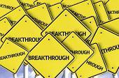 Breakthrough written on multiple road sign