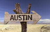 Austin wooden sign isolated on desert background
