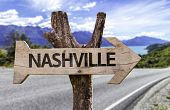 Nashville wooden sign with a street on background