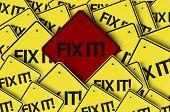 Fix It! written on multiple road sign