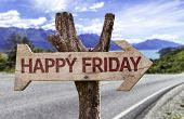 stock photo of friday  - Happy Friday wooden sign with a street background  - JPG