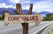 Core Values wooden sign with a street background