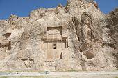 image of xerxes  - Grave of king Daeiros carved in rock near Persepolis - JPG