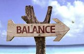 Balance wooden sign with a beach on background