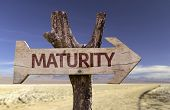 Maturity wooden sign with a desert background