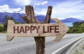 Happy Life wooden sign with a street background