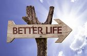 stock photo of feeling better  - Better Life wooden sign with a beautiful sky on background  - JPG