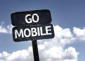 Go Mobile sign with clouds and sky