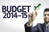 Business man pointing to transparent board with text: Budget 2014-15