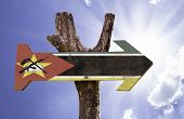 Mozambique wooden sign on a beautiful day