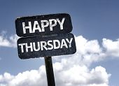 Happy Thursday sign with clouds and sky background