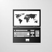 laptop icon with world map gray vector illustration